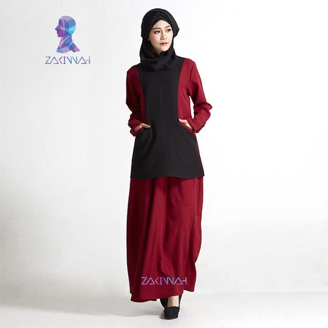 De Moda de alta Calidad Twinset Bolsillo del Color del Contraste de Las Señoras Kaftan Dubai Abaya Islámico Más Tamaño Ropa de Mujer Musulmana