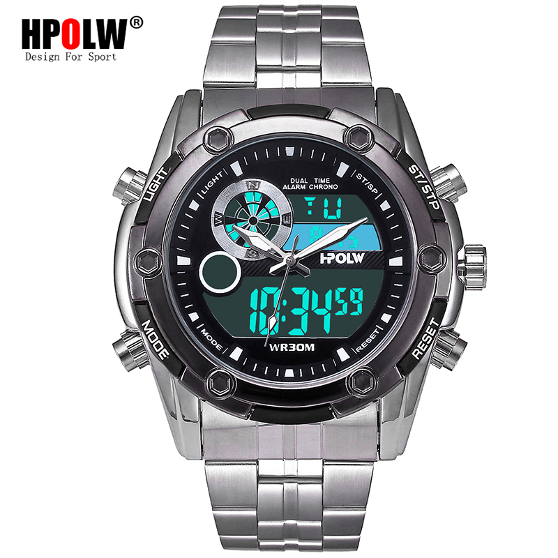 Men Sport Watches Stainless Steel Dual Display Watch Digital Analog Military Army Watch Electronic Quartz Watch 30M Waterproof hot sell weide luxury brand fashion men sport watch analog digital display 30m waterproof stainless steel strap with white dial