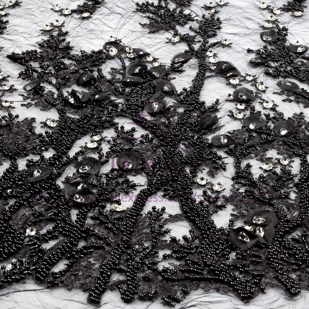 La Belleza hecha a mano con cuentas de cristal negro/Marfil/Rosa/blanco de 3D flores de noche vestido de encaje tela 1 yarda-in encaje from Hogar y Mascotas    3