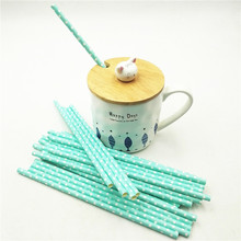 HOT25pcs/lot Blue Point Paper Drinking Straws Tubes Hawaiian Christmas Decorations Baby shower Birthday Straw Supplies
