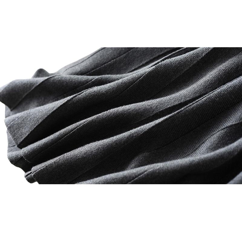 Lana Black Faldas Invierno Línea De Larga Otoño Nuevo Alta 2018 Plisada Una Casual Gray Cachemira Caliente Salvaje Cintura Mujeres dark Del Falda zHgg0