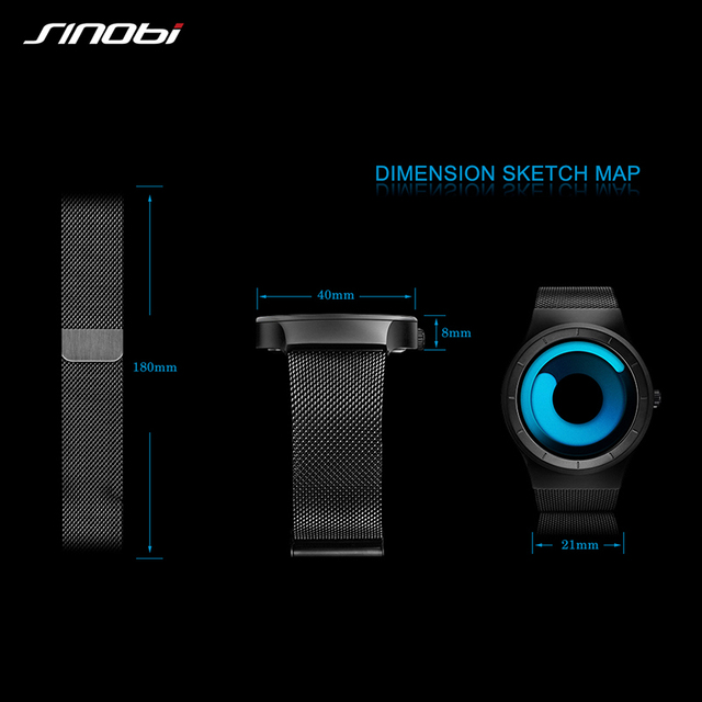 SINOBI Creative Rotation Stainless Steel Mesh Quartz Men Watch Luxury Brand Male Sport Wrist Watch Waterproof Relogio Masculino