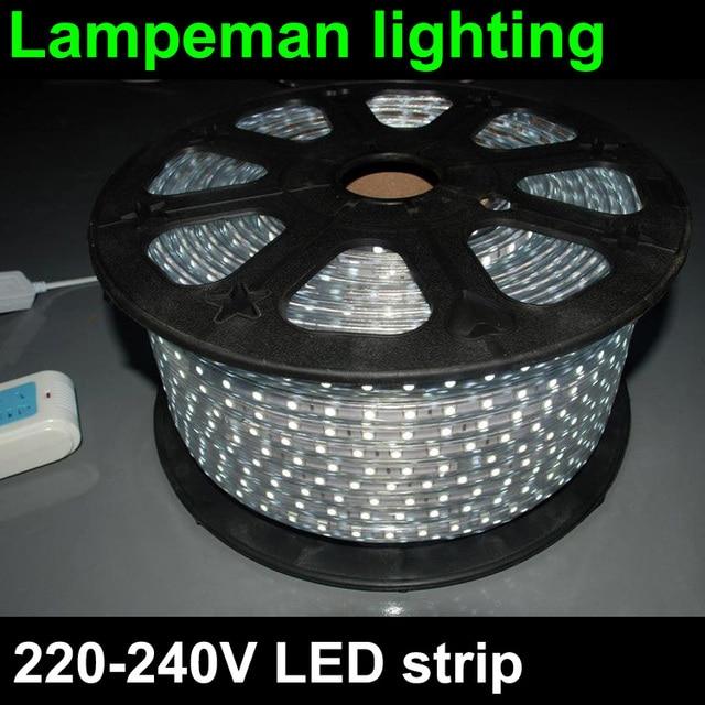 220V led strip light 230V 240V SMD 5050+Power plug,60leds/m 5m 6m 7m 8m 9m 10m 11m 12m 13m 14m 16m 17m 18m 19m  21m 22m 23m 24m