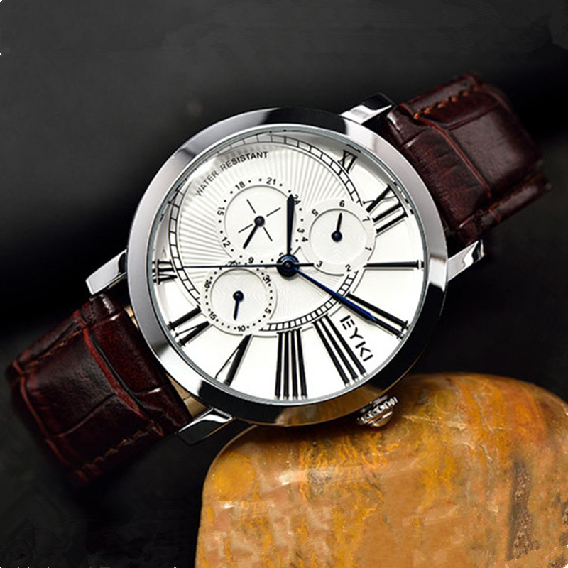 Eyki Luxury Brand Fashion Mens Quartz Watches Week Date Clock Leather Strap Casual Business Sport Watch Male Relogio Masculino повязка на голову для младенца baby s joy цвет бежевый k 22