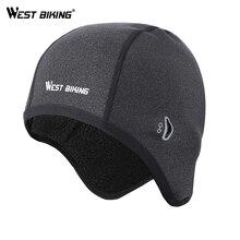 WEST BIKING велосипедные шапки, зимние ветрозащитные велосипедные головные уборы, флисовые тепловые шлемы для мужчин и женщин, уличные Беговые лыжные велосипедные колпачки