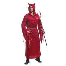 Adult Red Devil Demon Lord Costume Hooded Robe Horn for Men Halloween Purim Party Carnival Cosplay купить недорого в Москве