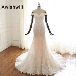 Vestido de Noiva 2019 Принцесса Свадебные платья с открытыми плечами кружево аппликации тюль для женщин Русалка свадебное платье настоящая