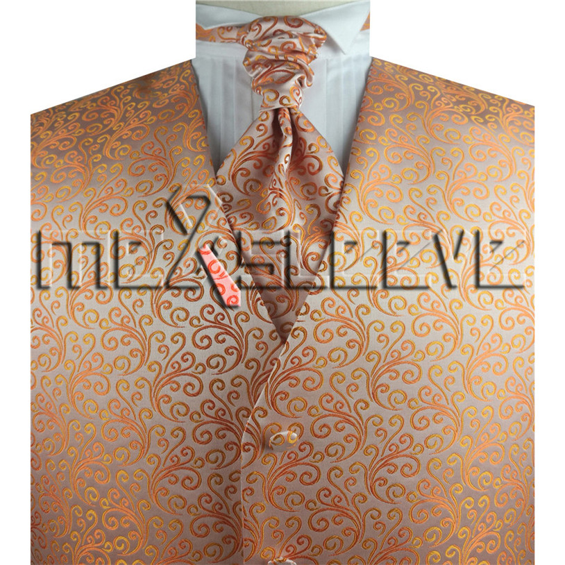 Free Delivery Go well with/formal /tuxedo Vogue Orange Waistcoat 4Pcs For Marriage ceremony