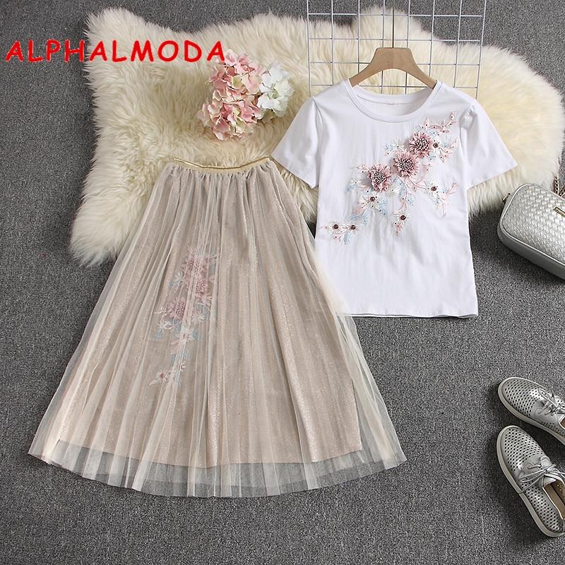 ALPHALMODA2019 летние футболки с 3D цветочной аппликацией  юбки трапециевидной формы с цветочным рисунком модный костюм из 2 предметов женский милый комплект с юбкой для тяжелой работы-in Женские наборы from Женская одежда on Aliexpresscom  Alibaba Group