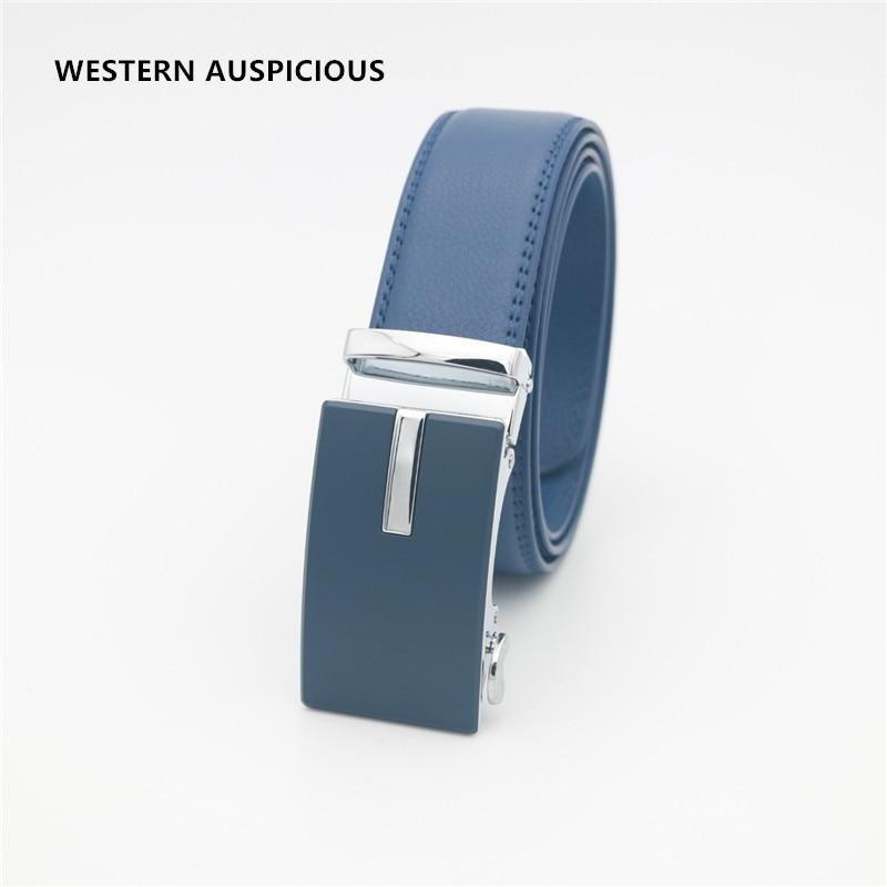 Image 4 - WESTERN AUSPICIOUS Genuine Leather Belt Men Blue Strap Automatic Male Belts Super Cinturon HombreMens Belts   -