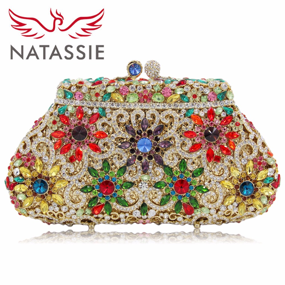 NATASSIE Women Evening Clutch Ladies Evening Bags Female Party Wedding Clutches Bag natassie women evening bags ladies crystal wedding clutch bag female party clutches purses