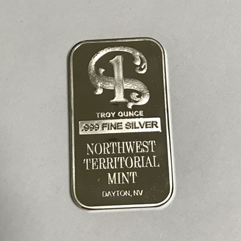 100 pcs Non Magnetic Northwest TERRITORIAL mint coin brass core 1 OZ silver plated ingot badge