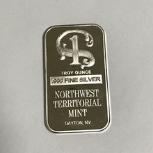 100 pcs Non Magnetic Northwest TERRITORIAL mint coin brass core 1 OZ silver plated ingot badge 50 mm x 28 home decoration bar