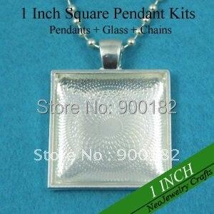 200 Наборы блестящих серебряных колье наборы: 25 мм квадратный поднос+ 25 мм квадратные стеклянные Кабины+ 24 дюйма ожерелье из шариковой цепочки