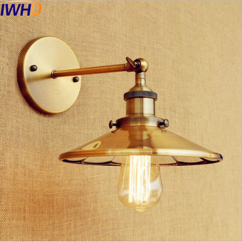 IWHD Gold Copper Vintage Wall Lamp Home Lighting Arm Edison Retro Wall Light Fixtures Loft Industrial Wall Sconce Apliques Pared wall sconce american country golden vintage led wall light fixtures for home indoor lighting beside lamp lamparas de pared