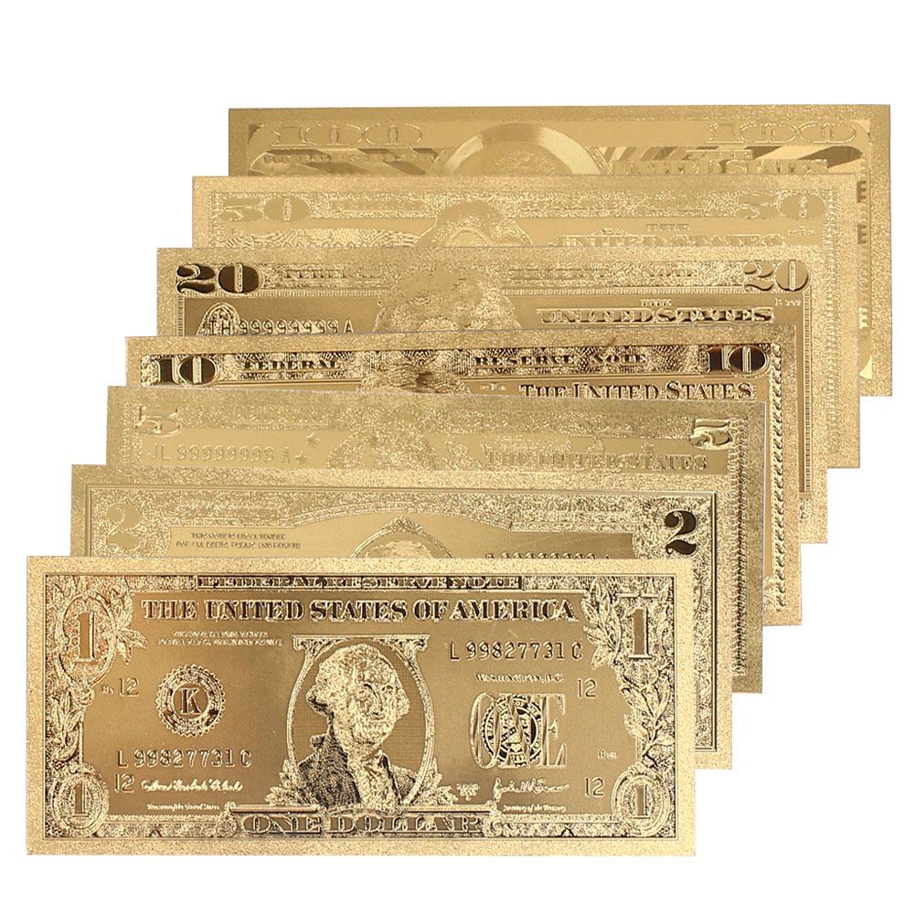 1 2 5 10 20 50 100 Dollar Commemorative Notes Decoration Antique Plated Gold Coin USA Antique Souvenir Drop Shipping