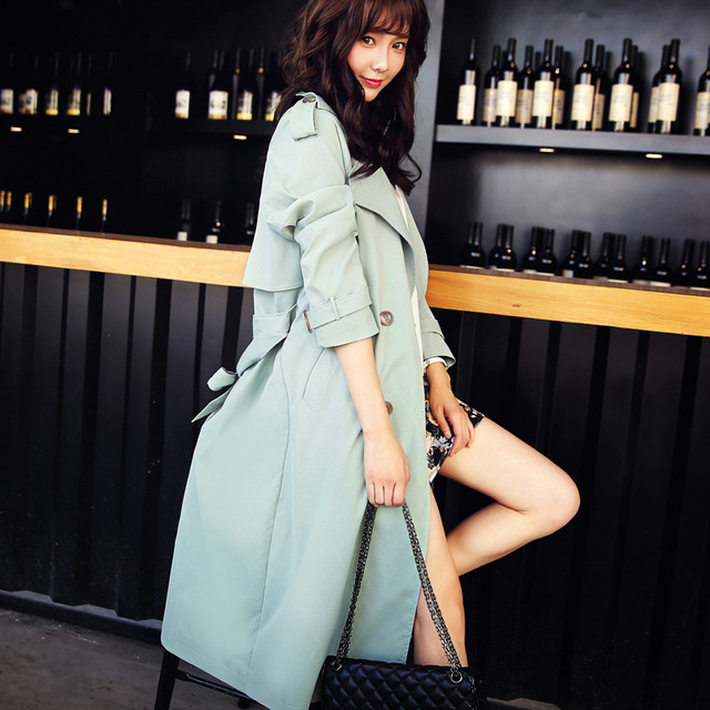Hot Sale Spring Autumn Casual Trench coat women Plus Size Long Double breasted Slim Was Thin Windbreaker Outerwear Coats MZ804