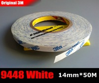 14mm 50M 0 15mm White 3M Strong Bond Double Sided Sticky Tape 9448A For Metal
