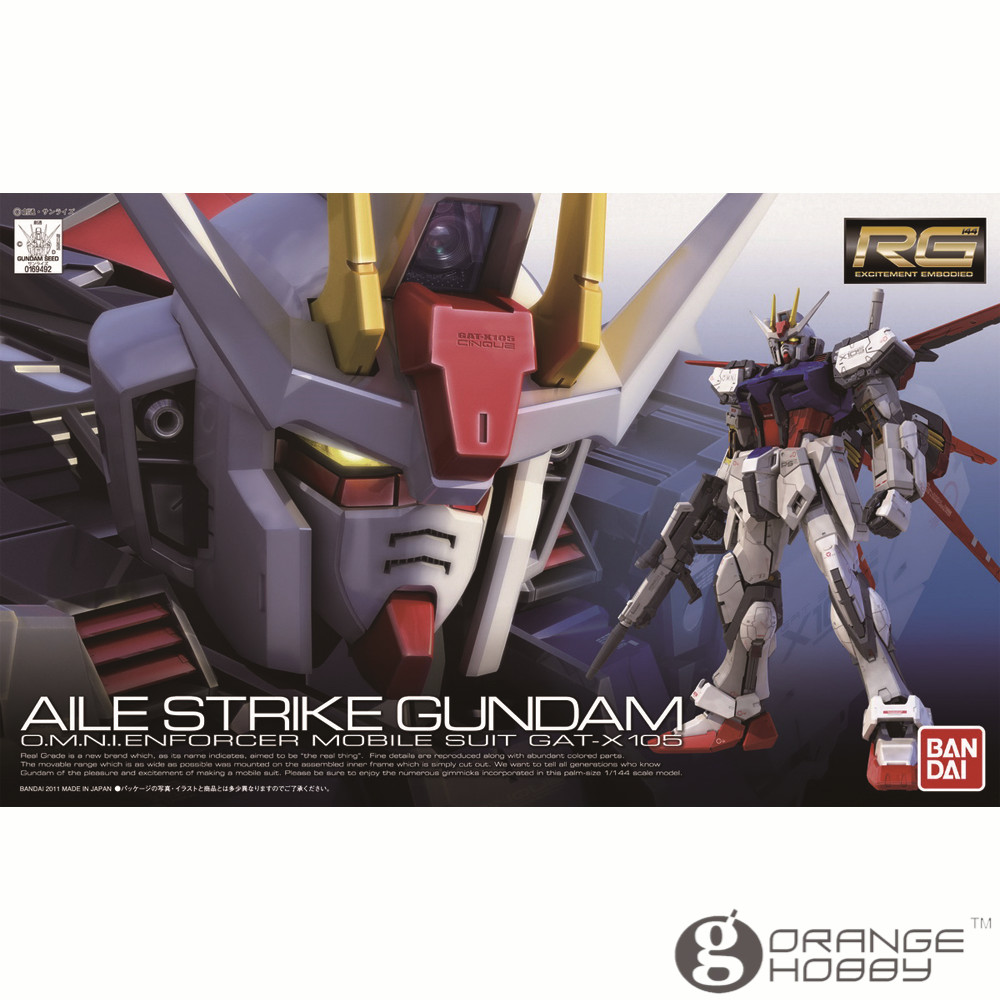OHS Bandai RG 03 1 144 GAT X 105 Aile Strike Gundam Mobile Suit Assembly Model