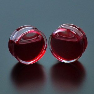 1Pair Red Liquid Blood Ear Gauges Acrylic Ear Plugs and Tunnels Earrings Gauges Piercing Oreja Expander Body Piercing Jewelry(China)