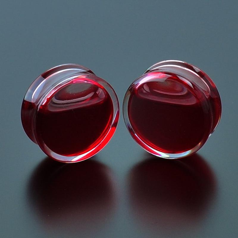 2Pcs אדום נוזל דם מודד אוזן אקריליק אוזן תקעים מנהרות אונה עגילי פירסינג ם Expander גוף פירסינג תכשיטים