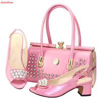 doershow Fashion Rhinestone pink Shoes And Bag Set Newest African Women low Heels Pumps Matching Purse For Wedding!BDN1 5