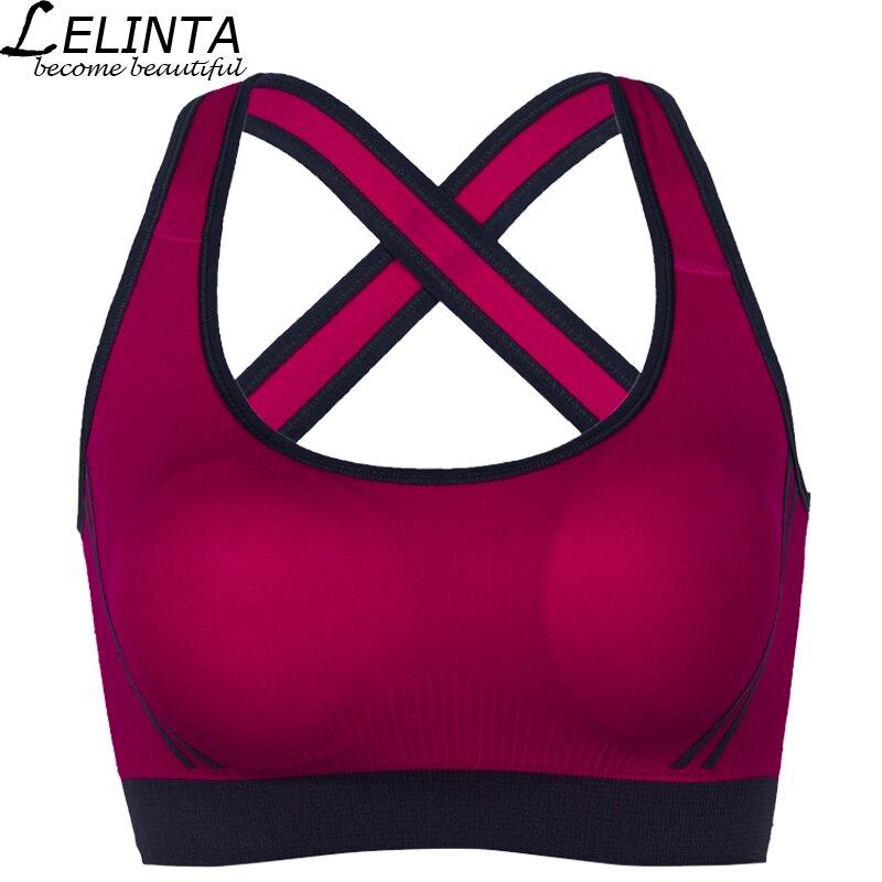 LELINTA 5 Cores Esporte Bra Para As Mulheres Ginásio Correndo Yoga esporte Bra Menina Roupa Interior De Nylon Spandex Preto Branco Vermelho Amarelo roxo