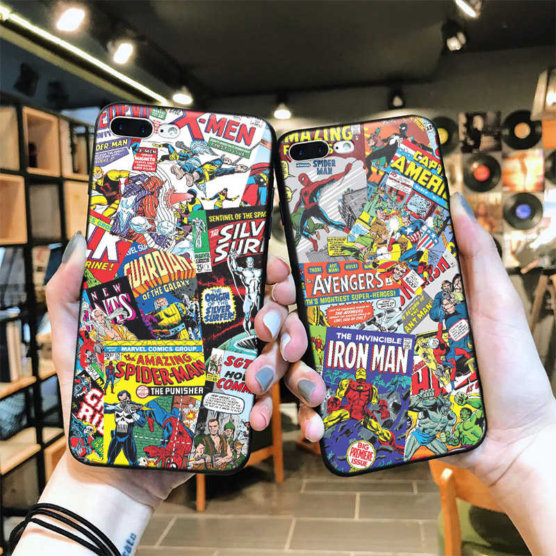 For iphone 6s 7 Soft silicone cover Case For iPhone 7plus 8 8plus X XS XR max 5 5s 6 6plus Marvel cartoon Phone case