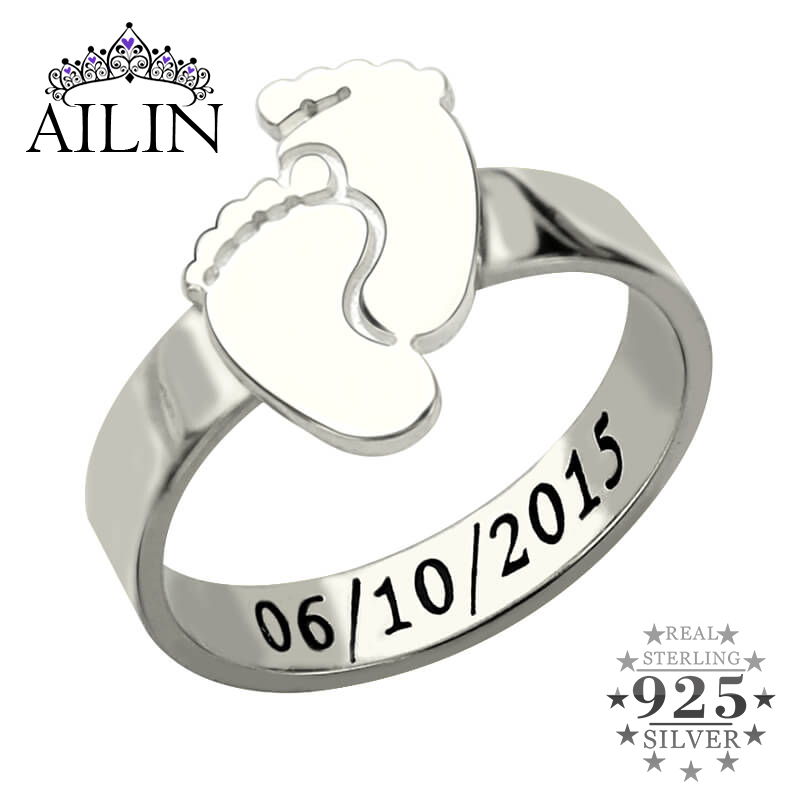 AILIN Personalized Baby Feet Ring Silver Engrave Name&Date Ring Cute Baby Footprint New Mom Gift Mother's Ring