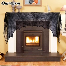 OurWarm 10pcs Halloween Party Supplies Cobweb Fireplace Scarf Black Spider Web Mantle Design Decoration
