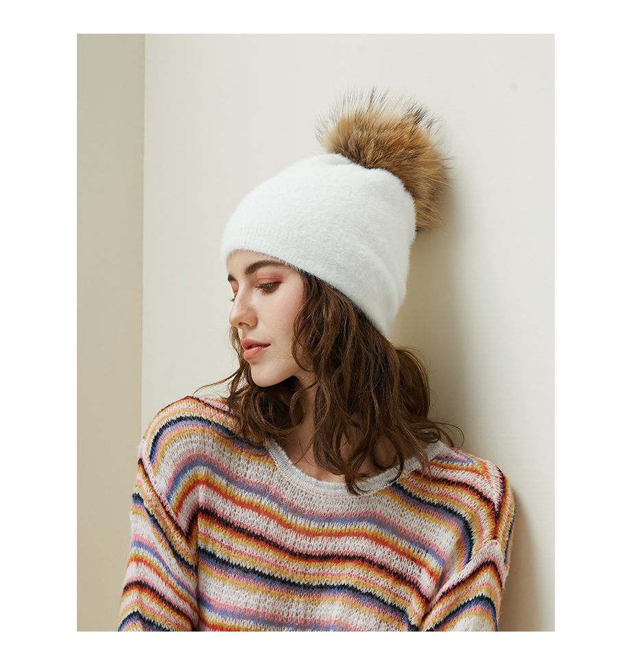 Hat Female Raccoon Hair Ball Beanies Winter Warm Wool Bonnet Pompom Beanies 2018 Fashion Russia Knitted Skullies Cap For Girls (12)
