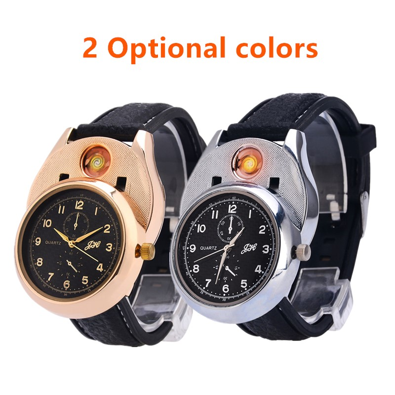 Military Rechargeable USB Lighter Watch Men electronic Sports Quartz Wristwatches Windproof Flameless Smoke Cigarette Lighter PJ 30w safety electronic cigarette mini mechanical pole smoke suit steam smoke portable authentic electronic cigarette