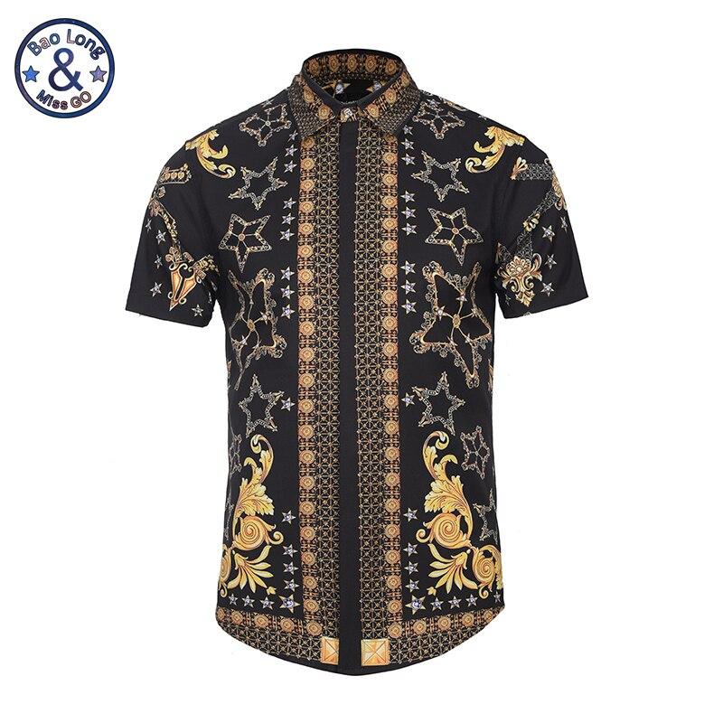 Buy 3d printed golden floral pattern for Patterned dress shirts for men