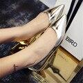 2016 плоский каблук мода острым носом плоский женщин japanned кожа серебро обувь одного лакированная кожа плюс размер женской обуви лодка