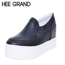Hee Grand/Весенняя женская обувь Revits толстая подошва повседневная женская обувь без шнуровки на сплошной платформе creppers XWD5166