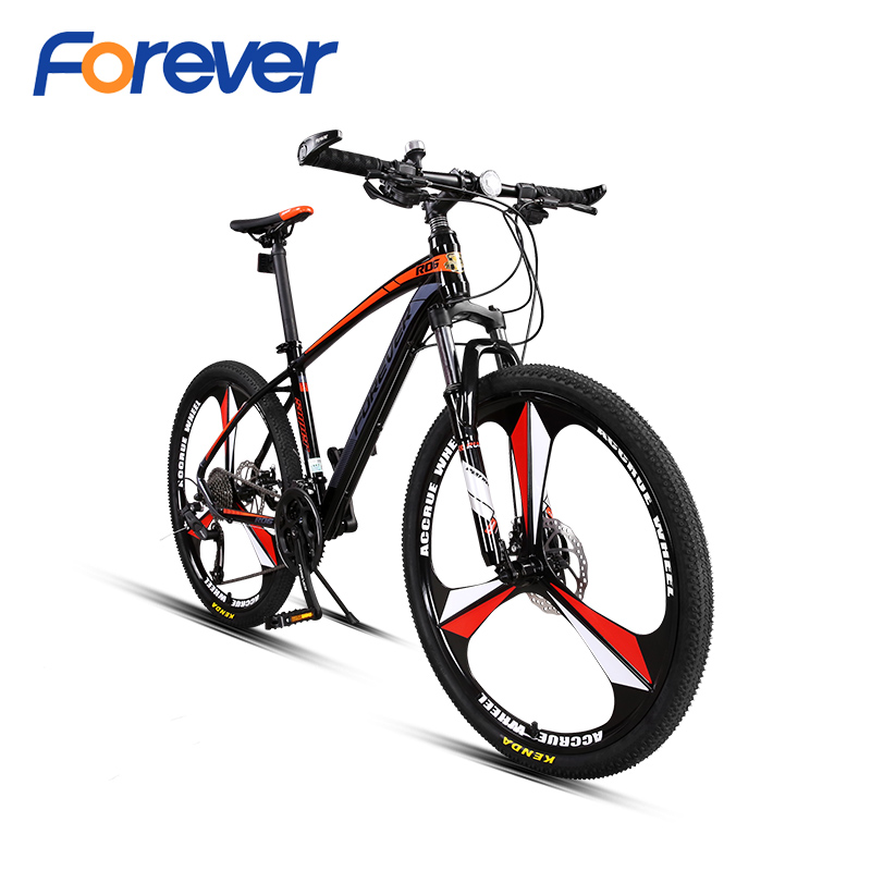FOREVER Damping Mountain Bike Aluminium Alloy Off-road Bicycle Mechanical Double Disc Brake Racing Cycle MTB  26 In 27 Speed