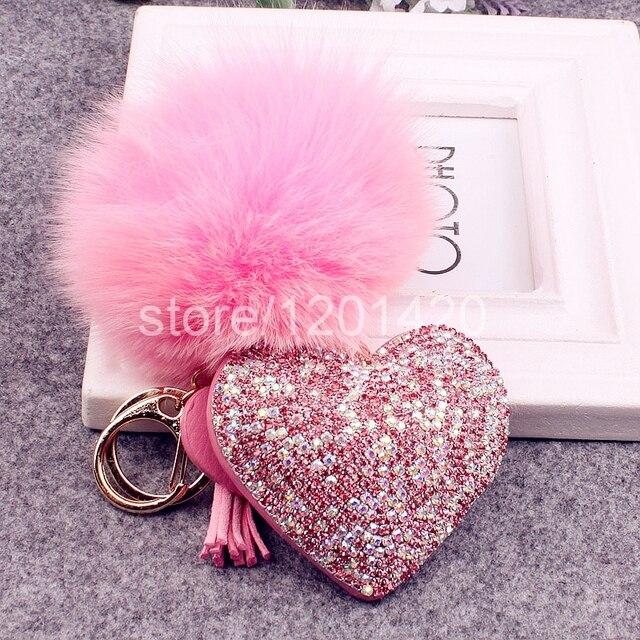 Блеск в форме сердца ручной блестящие шику кристалл натуральный мех брелок сумочка шарм