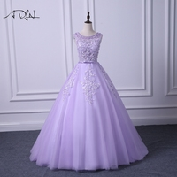 ADLN Scoop Sleeveless Lilac Prom Dresses Delicate Beaded A line Long Evening Party Gown Graduation Wear
