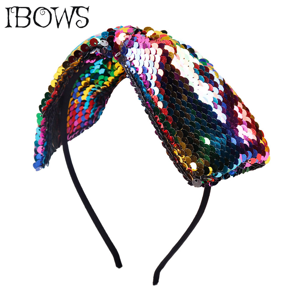 Large Mermaid Bows Hairband Rainbow Sequin Head Band For Women Girls Dance Party Boutique   Headwear   Hair Accessories