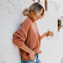 купить!  Повседневные сплошные свободные женские трикотажные пуловеры 2019 осень-зима мода о-образным вырезом