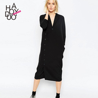 Haoduoyi2017 Autumn New Dress The European And American Fashion Single Breasted Long Sleeved Long Dress In