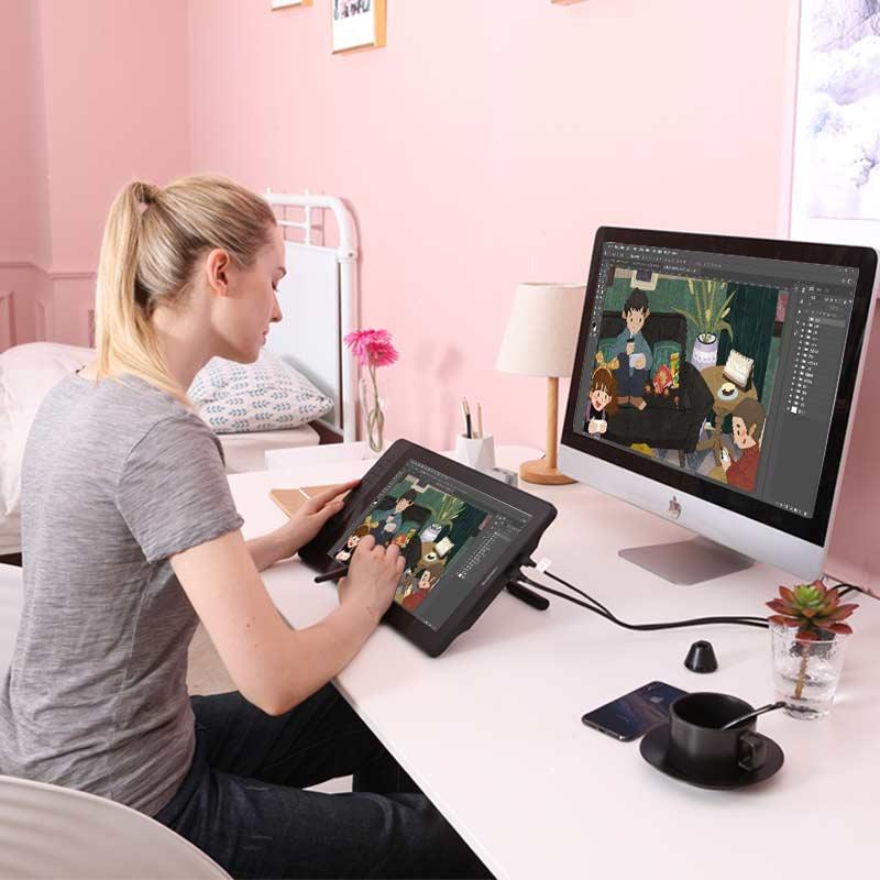 Moniteur de tablette graphique gapacket PD1560 15.6 pouces IPS HD Art 8192 levier affichage de stylo de sensibilité à la pression et gant de tablette de dessin - 2
