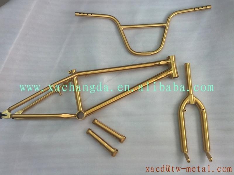 Cuadro de la bicicleta bmx titanium anodizado oro titanium marco ...