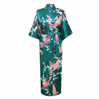 Mulheres verdes de Verão Longo Kimono Robe de Banho Pijamas Rayon Vestido de Banho camisola Pijamas Pijama Mujer Tamanho S M L XL XXL XXXL 032