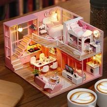 цена DIY Doll House Wooden doll Houses Miniature dollhouse Furniture Kit Toys for children Christmas Gift  L026 онлайн в 2017 году