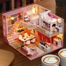 DIY 인형 집 나무 인형 집 미니어처 인형 집 가구 키트 어린이를위한 장난감 카사 크리스마스 선물 L026