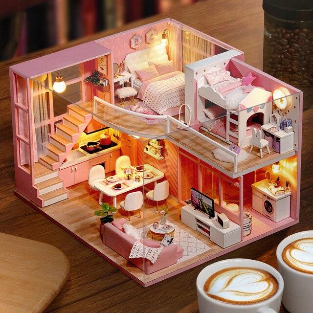 DIY Puppe Haus Holz puppe Häuser Miniatur puppenhaus Möbel Kit Spielzeug Casa für kinder Weihnachten Geschenk L026