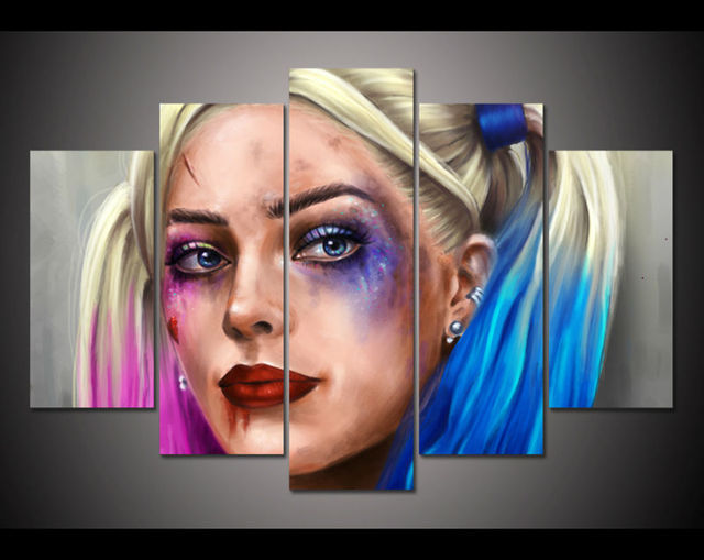 5 Panel HD Printed Painting Suicide Squad Harley Quinn