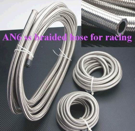 FREE SHIPPING 5Meters --AN6 Double braided Stainless steel fuel hose line AN6(ID:8MM,OD:13MM)
