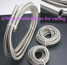 FREE SHIPPING 5Meters –AN6 Double braided Stainless steel  fuel hose line AN6(ID:8MM,OD:13MM)